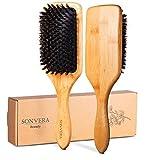 Natural Boar Bristle Hair Brush for Women Men Kids Pure Boars Bamboo Paddle...