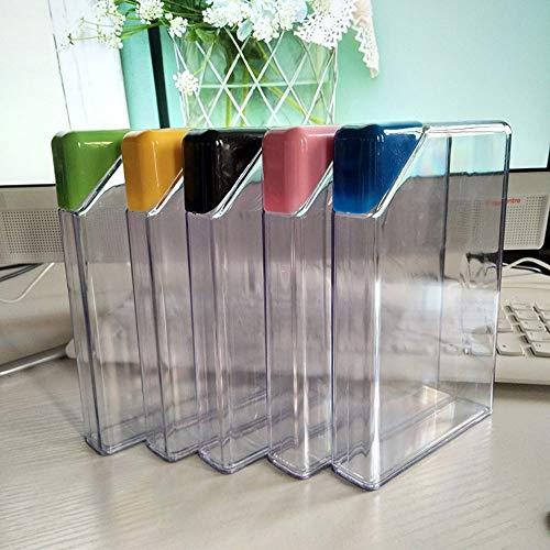 ABRC Botella de Agua de plástico Transparente Libro portátil Papel de Pista de Botella al Aire Libre Planas Bebidas hervidor de Viaje a Caballo de Camping Herramienta portátil