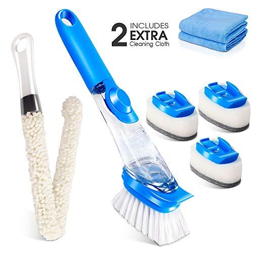 MASTERTOP El juego de cepillos de limpieza incluye 1 cepillo de plato con dispensador de jabón, 1 cepillo de esponja larga, 3 cabezas de esponja multiusos para lavar platos