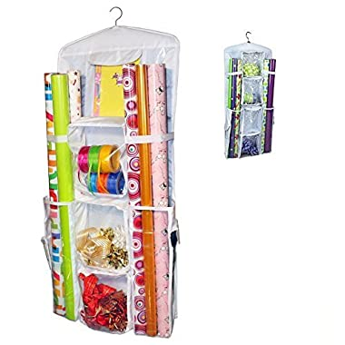 Aotuno Double-Sided Hanging Gift Wrap Organizer Storage