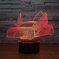 クールなスポーツカー自動3Dナイトライトノベルティ7色変更Ledデスクテーブルランプ3Dイリュージョンランプ男の子のためのギフト7色