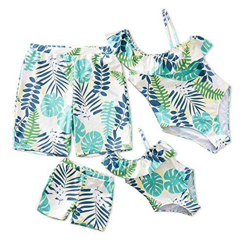 IFFEI Family Matching Swimwear One Piece Leaf Printed One Shoulder Monokini Ruffle Bathing Suit Girls: 6-7 Years