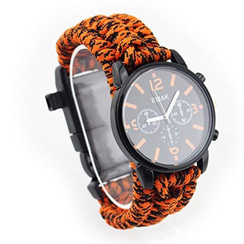 Reloj Multifunción De Aventura Al Aire Libre, Cuerda De Paraguas De Siete Núcleos,Reloj Luminoso a Prueba De Agua Y Impermeable, Muy Adecuado para Entusiastas del Ai Orange Black