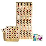 MR CHIPS Jam-Proof Bingo Cards with Sliding Windows, 25 Tan Woodgrain Bingo Cards, 75 Bingo Calling Cards, 1 Bingo Master Board