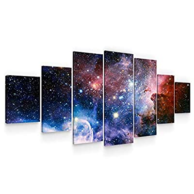 Startonight Huge Canvas Wall Art - Awesome Space ll Large Framed Set of 7 40 x 95 Inches from Made in Transylvania