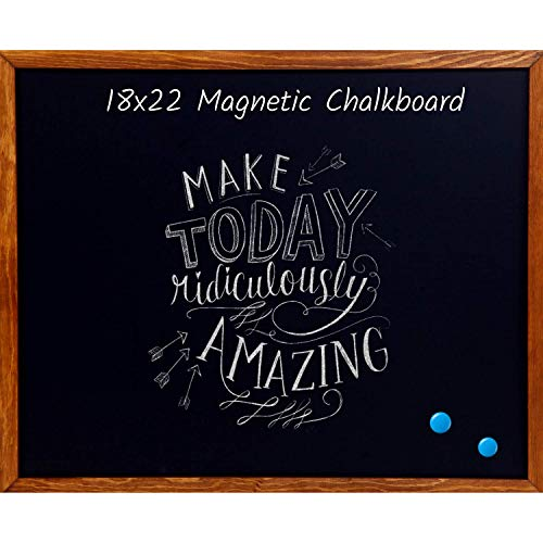 Wood Framed Chalkboard - Premium Magnetic 18 x 22 Rustic Chalk Board, Great with Regular or Liquid Chalk Markers, Non Porous Wall Hanging Blackboard Sign