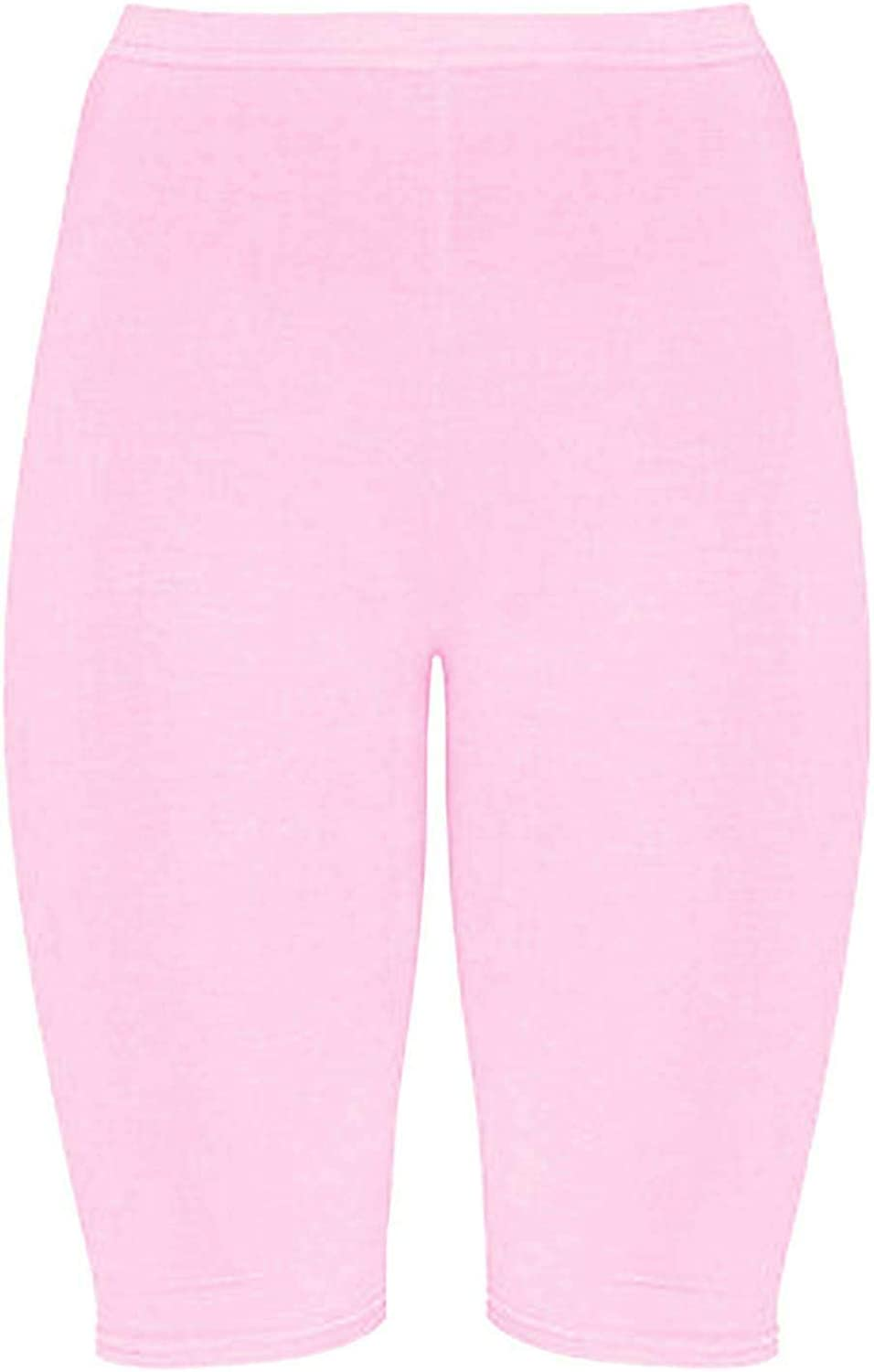 Janisramone New Womens Plain Stretchy Basic Dance Over Knee Active Gym Sports Cycling Shorts
