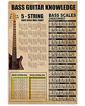 Guitar Poster Knowledge Bass Guitar 5-String Bass Scale Wall Chart Cheatsheet Chords All Minor Major Keys Wall Art Hanging Painting Paper Photography Watercolor Living Classroom Home Decor No Frame