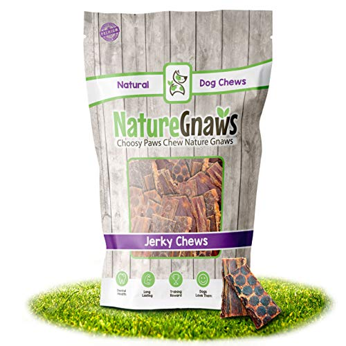 Nature Gnaws Beef Jerky Bites 3-4 inch (50 Count) - 100% Natural Chew Treats for Small Dogs