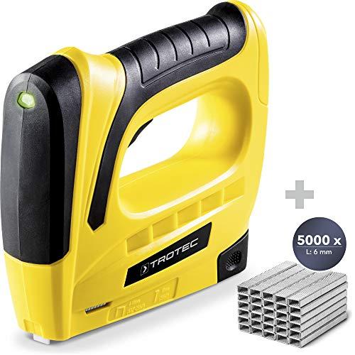 TROTEC Akku-Tacker PTNS 10‑3,6V DIY Akku Tacker Nagler (Klammerlänge 6-8 m Nagellänge 10 mm, inkl. 1000 Klammern (6 mm) + Tackerklammern-Set Typ 53 / 6mm