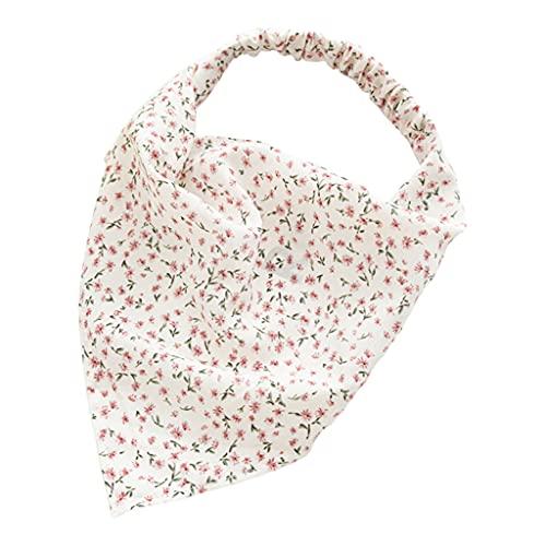Sharplace Bandana floral para mujer, banda elástica para el cabello Boho, diadema estampada, envoltura de cabeza triangular, bufanda para el cabello, diademas, blanco