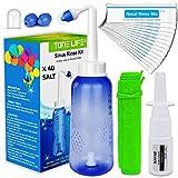Set de Lavado Nasal+40x Sal de Enjuague Nasal+Pulverizador Nasal+2 Boquilla para Adultos y niños-Tampen Hygiene-Ducha Nasal · Limpieza de Nariz-Aspirador de Nariz-Kit de Lavado y Irrigación Nasal