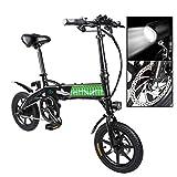 Qinmo Bicicleta eléctrica, E-Bici, E-MTB, 36V 7.8Ah Bicicleta eléctrica for Adultos Hombres Mujeres Mountain Bike Plegable 250W Velocidad máxima 25 kilometros/H de Carga máxima 120Kg (Negro)