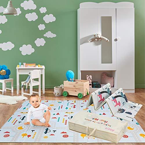 Aitere Baby Spielmatte, 200 x 180 x 1,5 cm, Baby Krabbelmatte, faltbare baby bodenmatte, umweltfreudlich, XPE Material, Doppelseiten spielbar, wasserdicht, ungiftig, BPA Frei, Kinderbahn/Tierpark