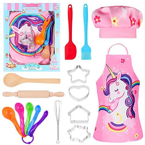 Tacobear 16 Stücke Koch-und Backset für Kinder Einhorn Schürze Kochmütze Outfit Kinderküche Rollenspielsets mit Schürze, Kochmütze, Utensilien für Mädchen und Jungen - 2