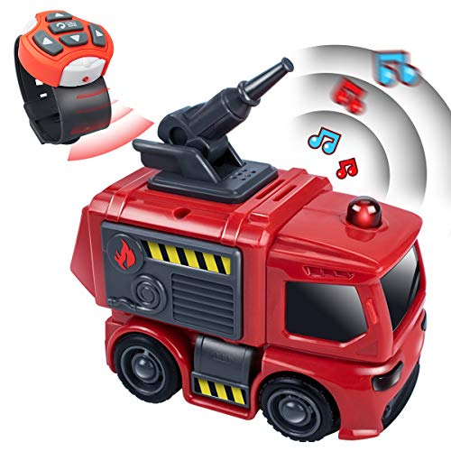 UNIH Fire Trucks Toy for Boys Remote Control Car by Watch Indoor Outdoor RC Car for Boys Kids Stem Learning Toddler Toys for 2 3 4 5 Year Old Toy