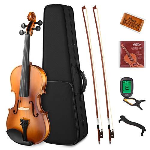 Eastar 4/4 Violine Set Geige Anfänger Erwachsene Massivholz mit Hartschalenkoffer Schulterstütze Kolophonium zwei Bögen und Saiten (EVA-330)