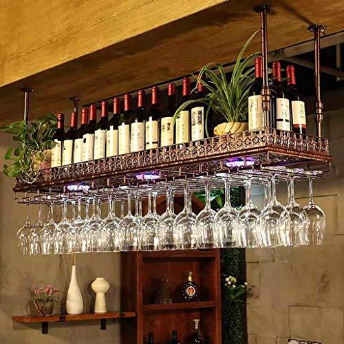 LYLSXY Estante de Vino, Estanterías de Vino Tenedor de Copa de Vino Al Revés de Vino Estilo Simple Hierro Colgante Vino Rack Decoración de Techo Estante para Bares, Restaurantes, Cocinas,Bronce,60 X
