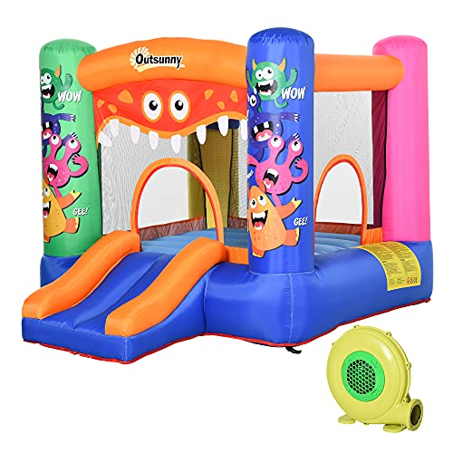 Outsunny Kids Bounce Castle House Inflatable Trampoline Slide Basket with Inflator for Kids Age 3-10 Monster Design 2.9 x 2 x 1.55m Multi-color
