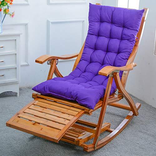 silla Reclinable De Bambú Plegable Mecedora De Playa Tumbona Almohadillas De Asiento Cómodas Diseño Ergonómico para Dormitorio De Jardín, Regalos para Padres