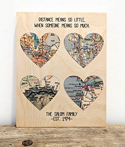 Personalized Gift for Parents Family Map Heart Print On Wood Birthday Gift for Mom Gift for Mother