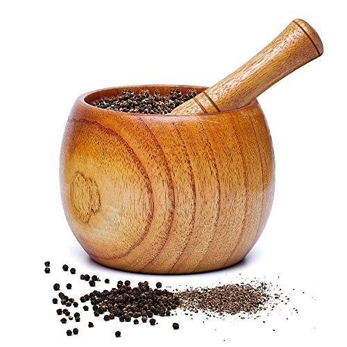 XGzhsa Holzmörser und Stößel Set, Knoblauchmörser, Natürliche Stößel- und Mörserschale aus Holz zum Mahlen von Gewürzen, Knoblauch, Nüssen, Kräutern, Pesto (8,7 x 8,9 cm)