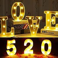 16cmA-Zアルファベット文字ライトマーキーサイン番号LEDライトロマンチックな屋内壁ナイトランプ装飾バレンタインデーギフト (Shape : Number 8)