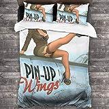 AIMILUX Funda Edredón,Pin up Wings 2 Nochevieja,Ropa de Cama Funda Nórdica,1(240x260cm)+2(50x80cm)...