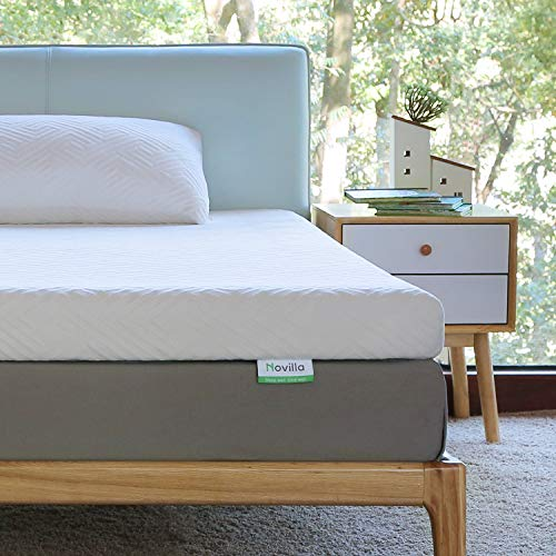 Novilla Mattress Topper Twin, 3 Inch Dual LayerMemory Foam Mattress Topper Enhance Cooling,Supportive & Pressure Relieving,with Washable Bamboo Cover,Twin Size, Yozora