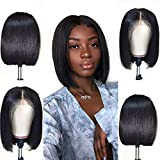 Jaja Hair Short Straight Bob Wigs Human Hair 13x4 Lace Front Wigs for Black Women 130% Density Pre Plucked with Baby Hair Virgin Natural Black 8 Inch