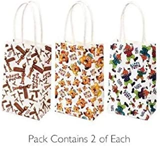 Purim Gift Bags, Pack of 6 Paper Bags for 'Mishloach Manot', Food Bags for Purim with Little Handles