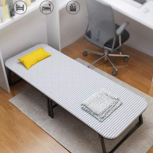 FACAZ Cama Simple Plegable para Acampar, Soporte de Metal para Oficina, Cama Siesta, fácil de almacenar, Silla de Cubierta de Tablero Duro de Madera