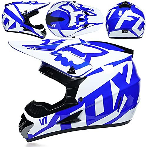 MCRUI Casco de Motocicleta, Conjunto de Cascos de Motocross, Bicicleta de Suciedad, Casco Full, Casco de Motocicleta Offroad con Gafas, Adecuado para niños de 5 a 14 años con diseño de Zorro