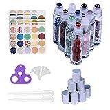 Iceyon 10pcs 10ml Gemstone Roller Bottles for Essential Oil Natural Healing Gemstone Chips Inside,Glass Roller Ball Bottles Transparent with Decorative Tops,Dropper,Opener,Funnels,160pcs Marking Label