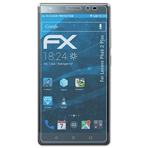 atFolix Schutzfolie kompatibel mit Lenovo Phab 2 Plus Folie, ultraklare FX Bildschirmschutzfolie (3X)
