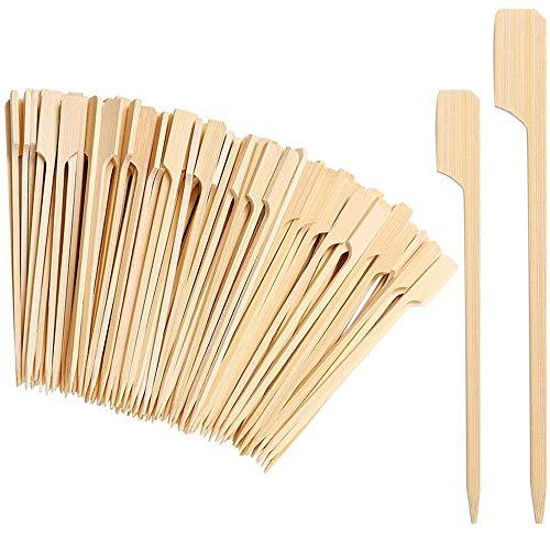 Limeow Palillos de bambú para Aperitivos Madera Parrilla Palos Pincho Brochetas Sticks Brochetas de Bambú BBQ para Brochetas Camping BBQ Kebab Hotdogs y Salchichas para Banquete bufé 200 piezas