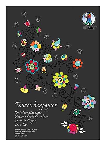 Ursus 2134690SE - Tonzeichenpapier, schwarz, DIN A4, 130 g/qm, 20 Blatt aus Frischzellulose, holz - und chlorfrei, ideal Grundlage für kreative Bastelarbeiten