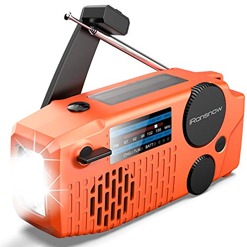【2000mAh Newest】 iRonsnow Emergency Solar Hand Crank Portable NOAA Weather Radio with AM/FM, Earphone Jack, LED Flashlight, 2000mAh Power Bank USB Phone Charger and SOS Alarm (Orange)