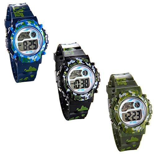 JewelryWe 可愛い 子供腕時計 アウトドアウオッチ デジタル表示 シンプル ファション 多機能 カレンダー付き アラーム-[3点セット]