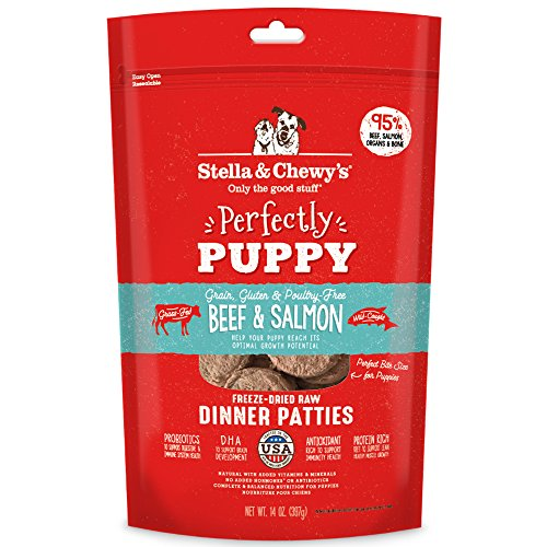 Stella & Chewy's Perfectly Puppy Freeze-Dried Raw Beef and Salmon Dinner Patties Dog Food, 14 oz. Bag