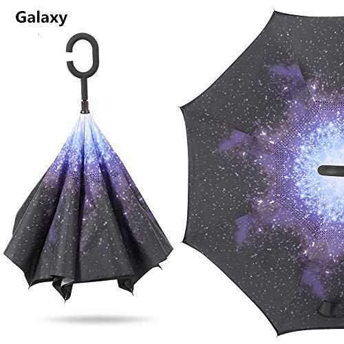 LXH-Rain Gear Supplies Paraguas invertido de Doble Capa con manija en Forma...