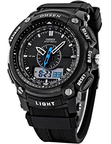 OHSEN LCD Dual Core Mens Women Sport Date Day Stopwatch Black Rubber Band Watch
