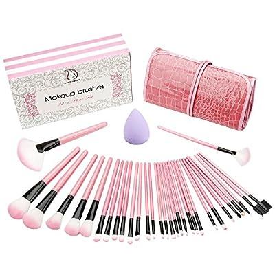 Start Makers 32 piššces Pinceaux de Maquillage Professionnels + šŠponge Maquillage - Kit de pinceaux maquillage - Parfait pour l'application de poudre ou crššme minšŠrale - Coffret cadeau noir