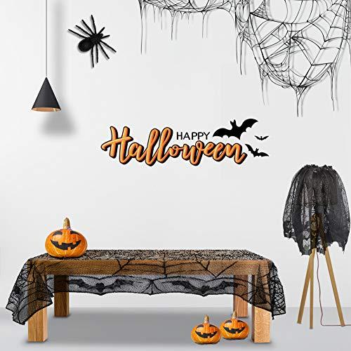 GARDOM Mantel De Halloween,Mantel de Encaje Negro SpiderWeb + Cortina, Decoraciones Perfectas para Halloween, Disfraces,Fiestas Temáticas de Miedo(2PCS)