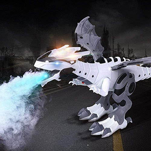 Walking Dinosaur-Dragon Hybrid Toy, Kids Electronic Dinosaur Toys, Walking Dragon Toy Fire Breathing Water Spray Dinosaur with Simulation Roaring, Shaking Head, Flapping Wings for Boys Girls (White)