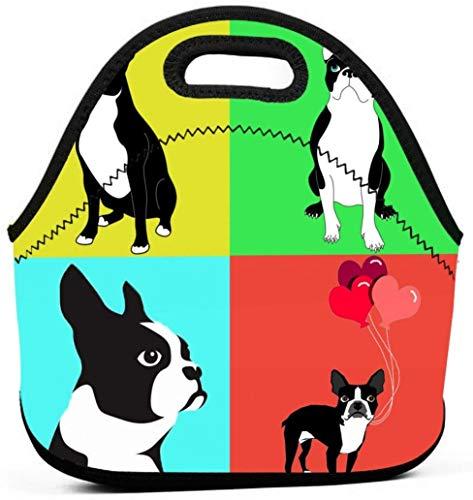 Cute Dogs Boston Terrier con globo Reutilizable Lunch Tote Bag Contenedor Bolsas Picnic Outdoor Travel Portable Handbag Pouch