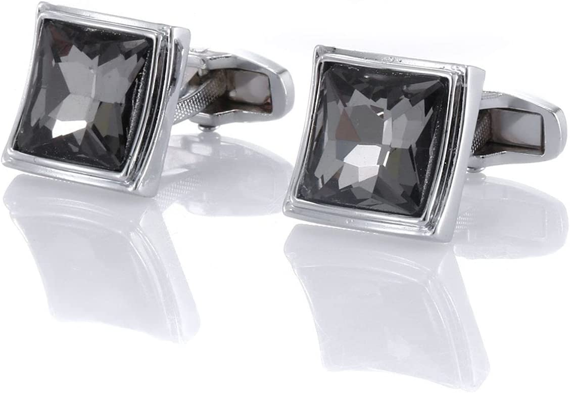 BO LAI DE Mens Cufflinks Smoked Grey Square Crystal Metal Cuff Links Shirt Cufflinks Suitable for Wedding Business Luxury Tuxedo Formal Shirts, with Gift Box