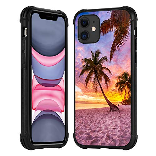 for iPhone 11 Case Unique Sunset Beach Design,Ultra Thin Hard Cover for Women Girls Shockproof Drop Proof Bumper Protection Cover Slim Fit Shell