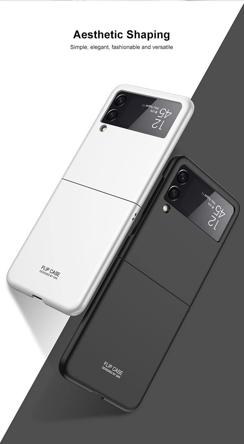 Ankoe for Samsung Galaxy Z Flip 3 5G Case, Thin Premium Hard Plastic Matte Finish Anti-Scratch 360 Full Body Protection Cover Cases for Samsung Galaxy Z Flip 3 5G 2021 (White)
