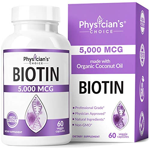Biotin 5000 MCG - Vitamin B7 with Coconut Oil - Natural Biotin Supplement for Hair Growth, Nail & Skin Health - Vegan & Non-GMO - Skin, Hair and Nail Vitamins - 60 Capsules